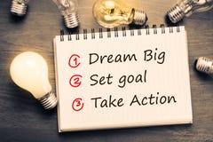 Dream Big, Set Goal, Take Action Stock Photo