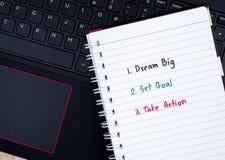 Dream Big, Set Goal, Take Action on laptop keyboard 1 Stock Image