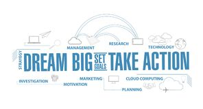 Dream big, set, goals, take action diagram plan concept. Isolated over a white background vector illustration