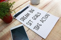 Dream Big Set Goals Take Action stock photography