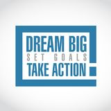 Dream big, set, goals, take action exclamation box message. Isolated over a white background vector illustration