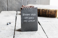 Dream Big Set Goals Take Action, Inspirational motivation quote Royalty Free Stock Image