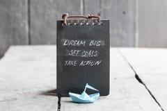 Free Dream Big, Set Goals, Take Action On Blackboard Written Stock Image - 81140671