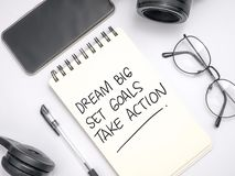 Dream Big Set Goals Take Action. Words letter. Motivational business typography quotes concept lettering writing alphabet inspirational memo message lifestyle stock photo