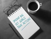 Dream Big Set Goals Take Action vector illustration