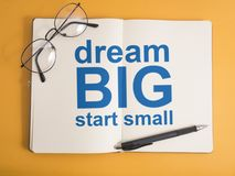 Dream Big Start Small, Motivational Words Quotes Concept. Dream Big Start Small, business motivational inspirational quotes, words typography lettering concept stock photo