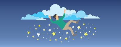 Dream Big. Vector illustration of a person who has a dream as high as the sky but failed to reach it, but he fell among the beautiful stars Stock Image