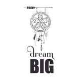 Dream big wall art poster. Dream big quote poster design with creative dream catcher visual Stock Photo