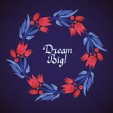 Dream Big watercolor floral wreath with paper cut Royalty Free Stock Photo