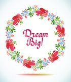 Dream Big watercolor floral wreath paper cut flower  Greeting card background Royalty Free Stock Images