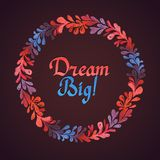Dream Big watercolor floral wreath with paper cut Royalty Free Stock Image