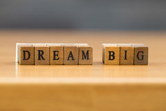 Dream big. word written on wood block. On tabale Royalty Free Stock Photography