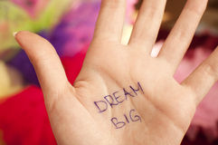 Dream big. Written on a palm royalty free stock image