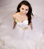 Dream Bride. Bride posing in a dream like white wedding dress stock images