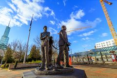 The Dream bronze statue in front of Oregon Convention Center,. Portland, Oregon, United States - Dec 20, 2017 : The Dream bronze statue in front of Oregon Stock Image