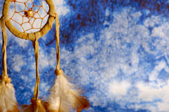 Dream catcher. Native american dream catcher over a blue background Royalty Free Stock Photos