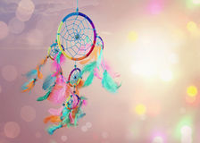 Dream catcher. And abstract bokeh background royalty free stock photo