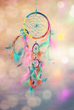 Dream catcher. And abstract bokeh background royalty free stock image