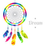 Dream catcher with abstract bright transparent vector illustration