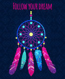 Dream catcher with abstract feathers in ethnic style. Vector illustration Royalty Free Stock Photos