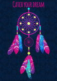 Dream catcher with abstract feathers in ethnic style. Vector illustration Stock Photos