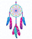 Dream catcher with abstract feathers in ethnic style. Vector illustration Royalty Free Stock Image