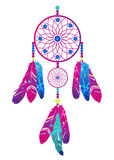 Dream catcher with abstract feathers in ethnic style. Vector illustration Royalty Free Stock Photography