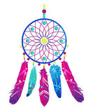 Dream catcher with abstract feathers in ethnic style. Vector illustration Royalty Free Stock Images
