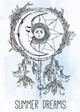 Dream catcher adorned  with sun and moon inside. Stock Photo