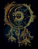 Dream catcher adorned  with sun and moon inside. Stock Image