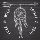Dream catcher and arrow, tribal legend in Indian style with traditional dreamcatcher with bird feathers and beads.  Royalty Free Stock Photo