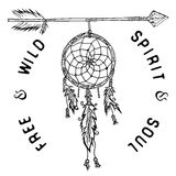 Dream catcher and arrow, tribal legend in Indian style with traditional headgear. Stock Image