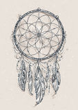 Dream Catcher. Art of traditional indian dream catcher. Grunge vector illustration Stock Illustration