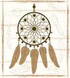 Dream catcher with beige feathers Royalty Free Stock Images