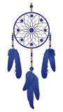 Dream catcher with blue feathers. Vector illustration Stock Photography