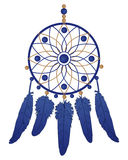 Dream catcher with blue feathers Stock Photos