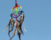 Dream catcher with blue sky background. Royalty Free Stock Image