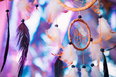 Dream catcher on the bright multicolored background Royalty Free Stock Images