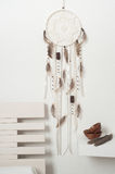 Dream catcher with brown feathers Stock Images
