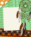 Dream catcher card. Text card, collage with american indian dream catcher Royalty Free Stock Photos