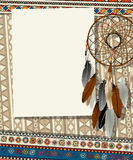 Dream catcher card. Text card, collage with american indian dream catcher Royalty Free Stock Image