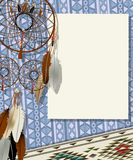Dream catcher card. Text card, collage with american indian dream catcher Royalty Free Stock Photography
