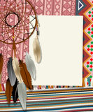 Dream catcher card. Text card, collage with american indian dream catcher Stock Photography