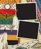 Dream catcher collage. Dream catcher card design empty photo frames Stock Image
