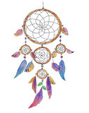 Dream catcher. Colorful illustration of a traditional native American decoration - dream catcher with feathers and beads Royalty Free Stock Image