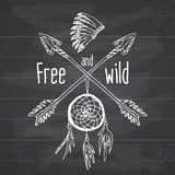 Dream catcher and crossed arrows, tribal legend in Indian style with traditional headgeer. dreamcatcher with bird feathers and bea. Ds. Vector vintage Royalty Free Stock Photos