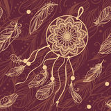 Dream catcher on dark background. Vector hand drawn seamless pattern. Vector repeating ornament in boho style Royalty Free Stock Image