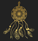 Dream catcher on dark background. Vector illustration. Gold on black template for flash tattoo Stock Image