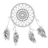 Dream catcher with decorated feathers Stock Photo