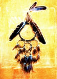 Dream catcher with eagle and raven feathers on orange structure wall, fractal effect. Stock Image